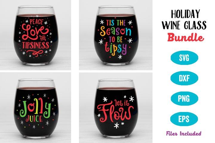 Holiday Wine Glass SVG Bundle, Christmas Party SVG, Wine SVG