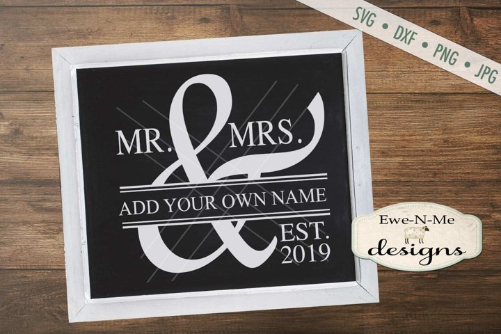 Mr and Mrs Wedding SVG DXF Cut File