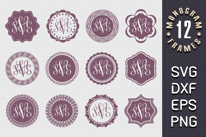 Monogram Frames SVG - PNG - DXF - EPS - Collection of 12