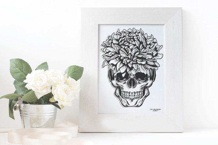 Skull and Chrysanthemum