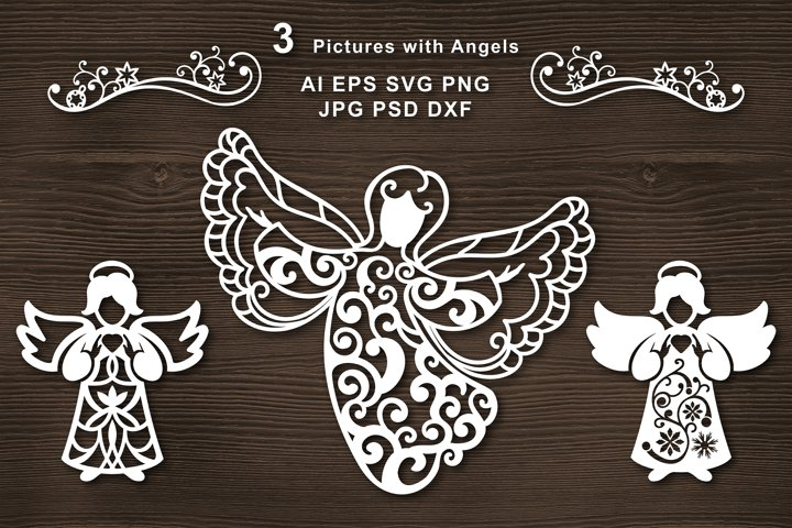 Angels with heart and ornamental angel for laser cutting set