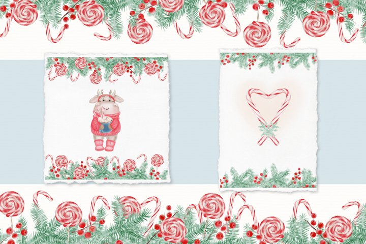 Watercolor Christmas Clipart. Christmas Bull. Snowman. PNG example 1