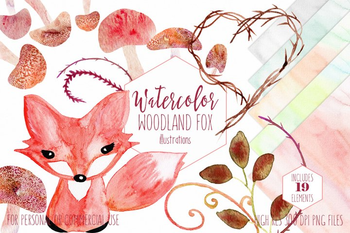 Cute Watercolor Woodland Fox Baby Animal Mushrooms Rustic Nature Clipart Set & Digital Background Papers