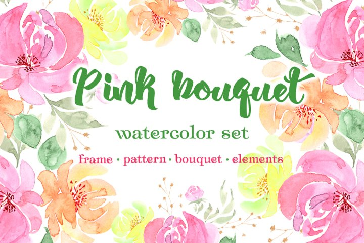 Pink bouquet.watercolor set