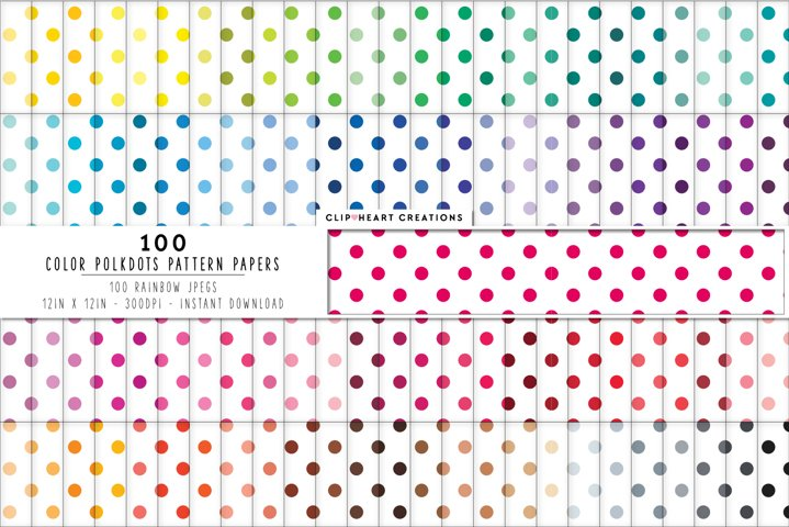 100 Colored Polka dot Pattern Digital Papers - rainbow color