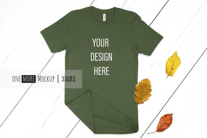 Fall T-Shirt Mockup I Bella Canvas 3001 Olive Mockup