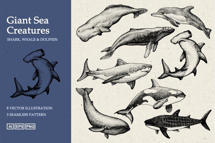 Giant Sea Animal Hand Drawn Stipple Art