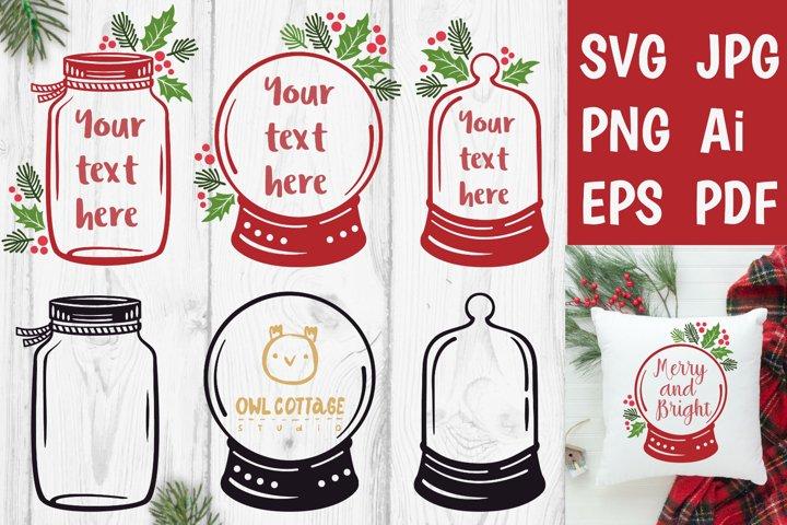 Christmas Jar and Snow Globe SVG mini Bundle, Gift Tags Deco