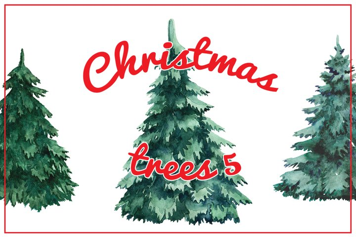 Watercolor Christmas trees 5