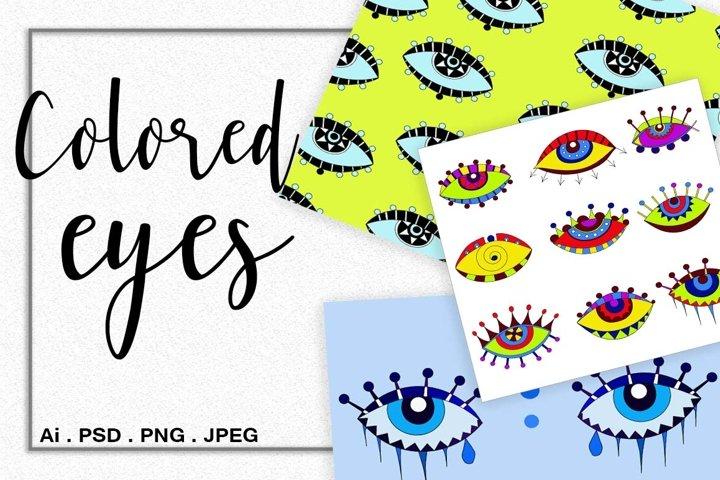 Colored stylized eyes
