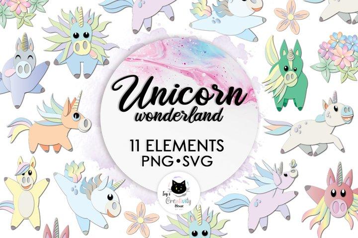 Rainbow Unicorn SVG Bundle | Unicorn Nursery Clipart