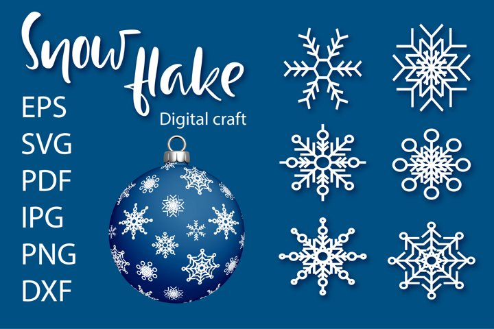 Snowflake SVG Cut File Bundles | Christmas SVG | Snowflakes