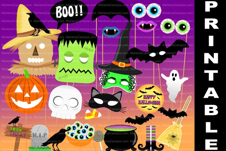 Halloween Photo Booth Props / PRINTABLE