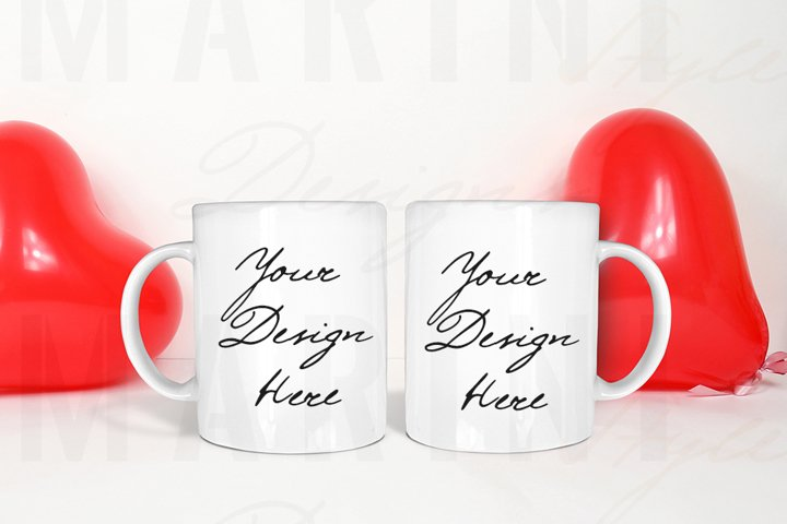 Valentines day 2 mugs mockup, Two White mugs mockup 1099
