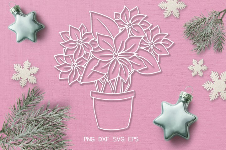 SVG / PDF / DXF Poinsettia Design, Papercutting Template