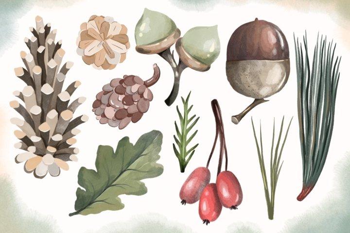 10 Watercolor digital autumn files