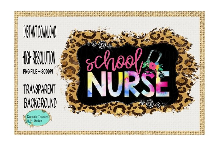 School Nurse, Leopard Print, Sublimation Design