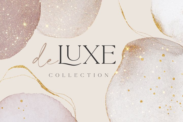 Rose Gold Watercolor Shapes Deluxe Collection Jpg-Png