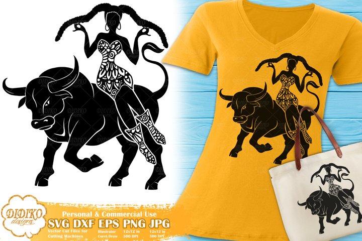 Taurus SVG | Black Woman SVG | Zentangle SVG | Zodiac Sign