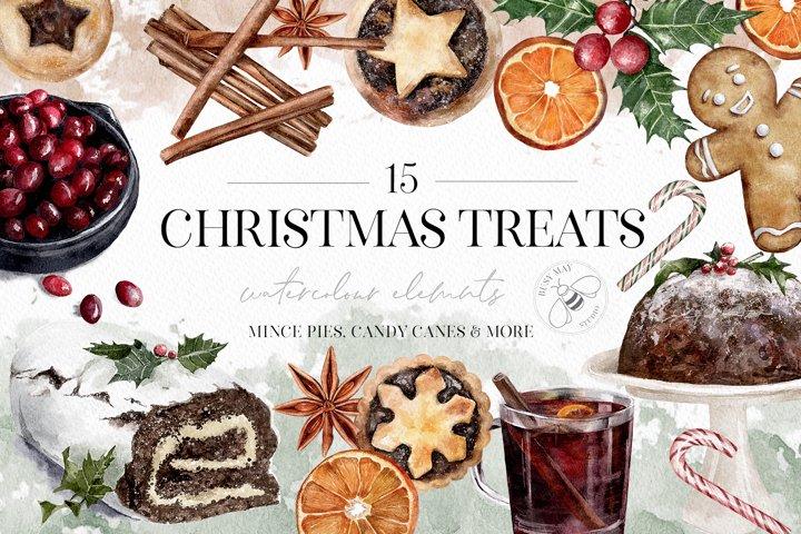 Watercolor Christmas Treats Festive Food Illustration Cake