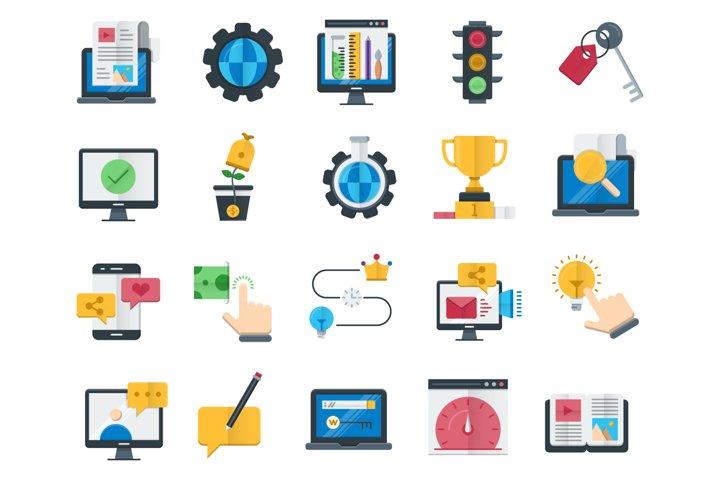 160 Seo and web optimization flat icons