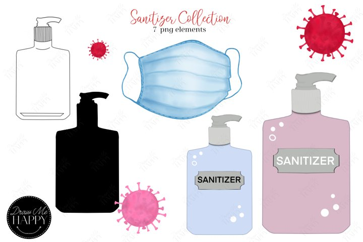 Sanitizer, Hand Sanitizer, Face Mask Clipart, Covid Germs