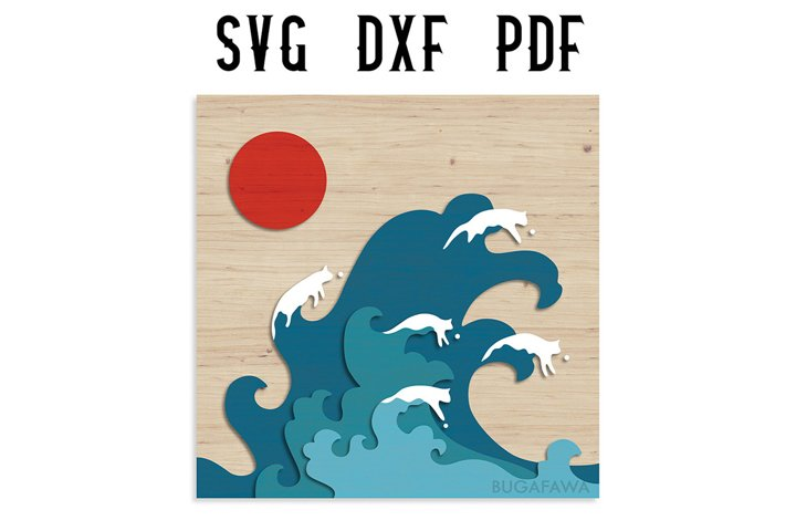 Japanese Layered Cat Wave Wall Decor Cut File - SVG/DXF