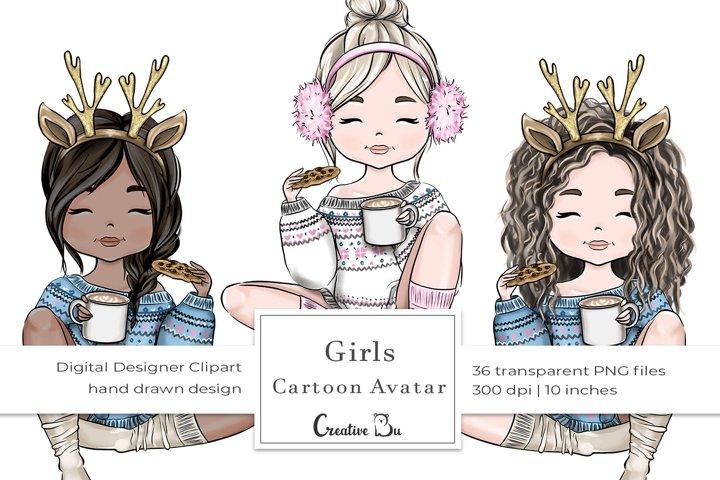 Winter Cartoon Avatar Girls - Clipart