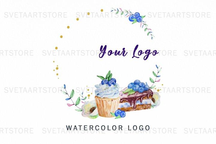 Premade Logo Cupcake, Watercolor Logo, Bakery