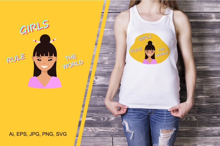T-shirt design with cute young woman Girls rule the world