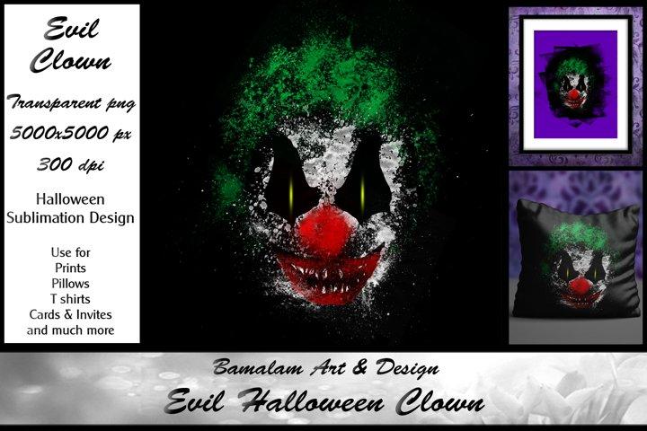 Evil Clown Halloween Sublimation Clipart