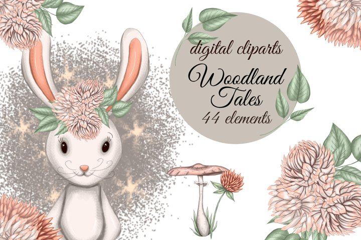 Woodland animals clipart, forest animal clipart, cute bunny