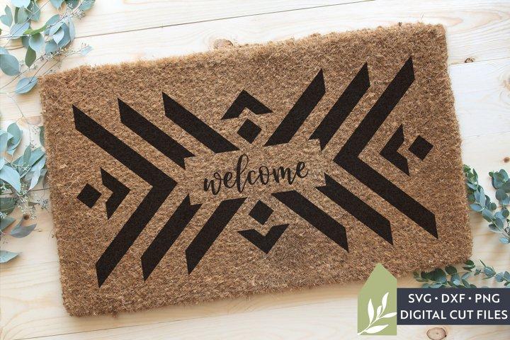 Boho Welcome Mat SVG, Geometric Doormat SVG