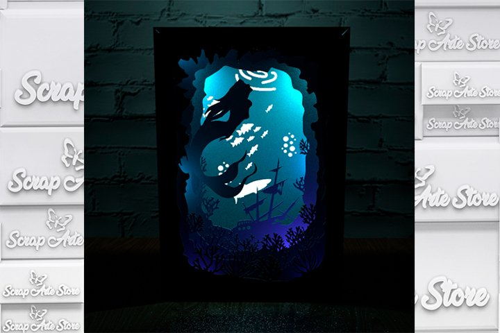 Mermaid shadow box cutting template