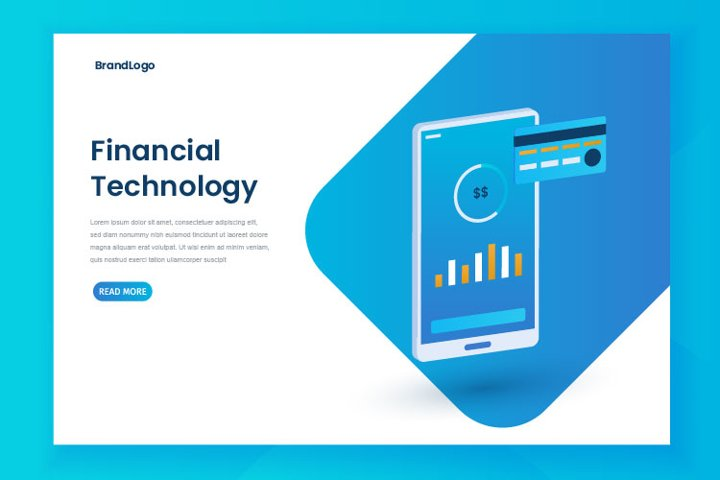 Fintech illustration landing page template