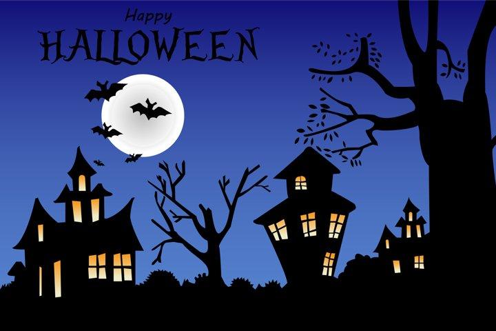 Night background for happy halloween bats. Vector EPS10