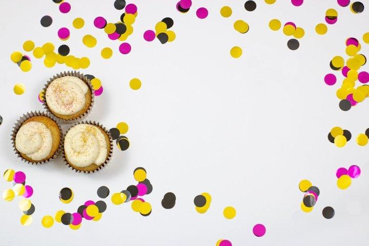 Birthday Confetti And Cupcakes Flat Lay