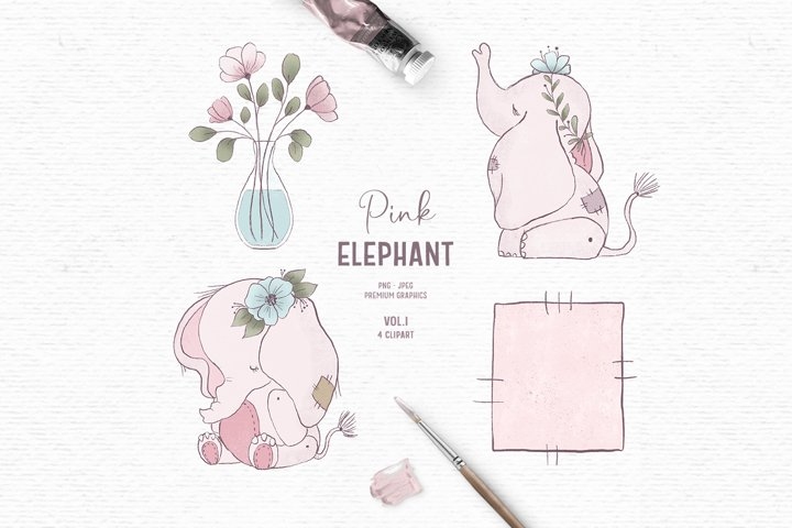 Hand-drawn baby elephant clipart | Animal clipart for kids