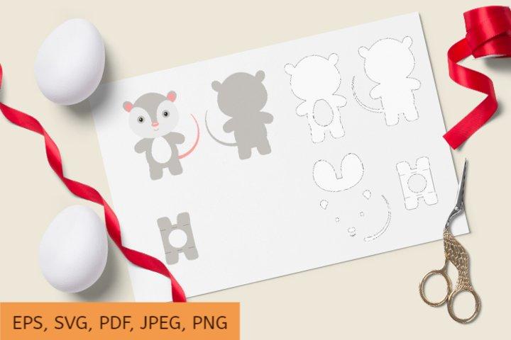Cute Opossum Chocolate Egg Holder Design, SVG Cutting File