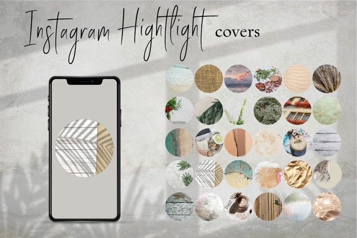 30 Themed minimal Instagram Highlight Covers.