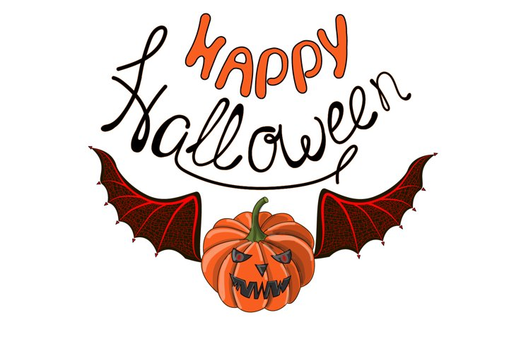 Postcard. The lettering of Happy Halloween.