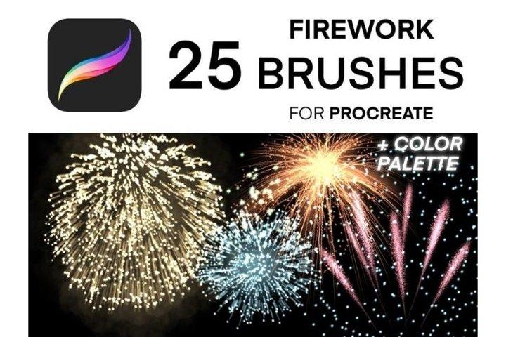 25 Procreate Fireworks Brushes Set, Christmas New Year