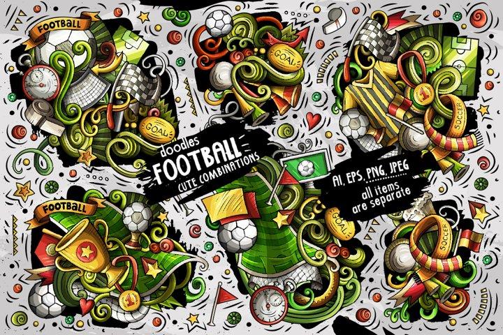 Football Doodle Vector Designs Set