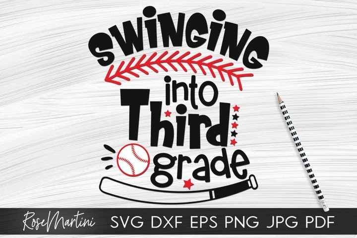 Swinging Into Third Grade SVG PNG Funny Back To School svg