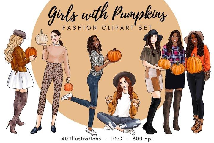 Girls with Pumpkins Fashion Clipart Set