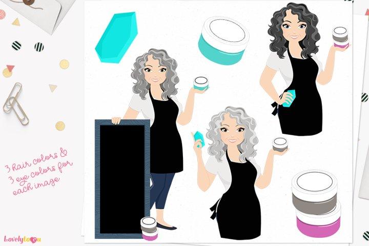 Chalk art woman character clipart L631 Donna