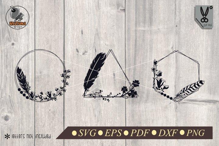 Monogram Frame SVG | Floral SVG | Feather SVG | Fall SVG