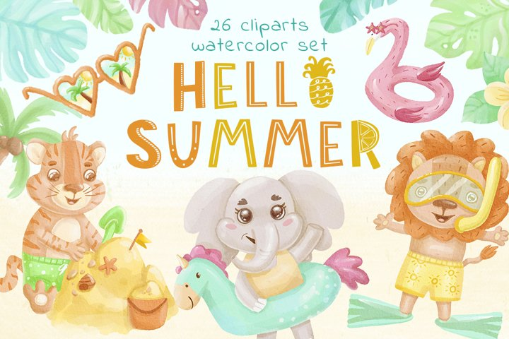 Hello Summer Animals Clipart - Watercolor Illustration, baby