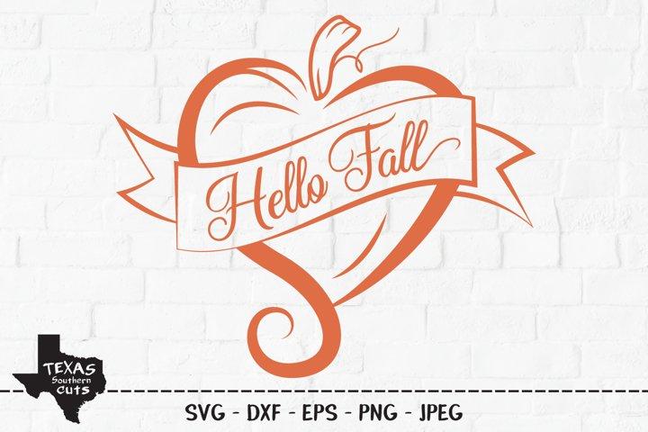 Hello Fall SVG, Cut File, Fall Shirt Design, Pumpkin Heart