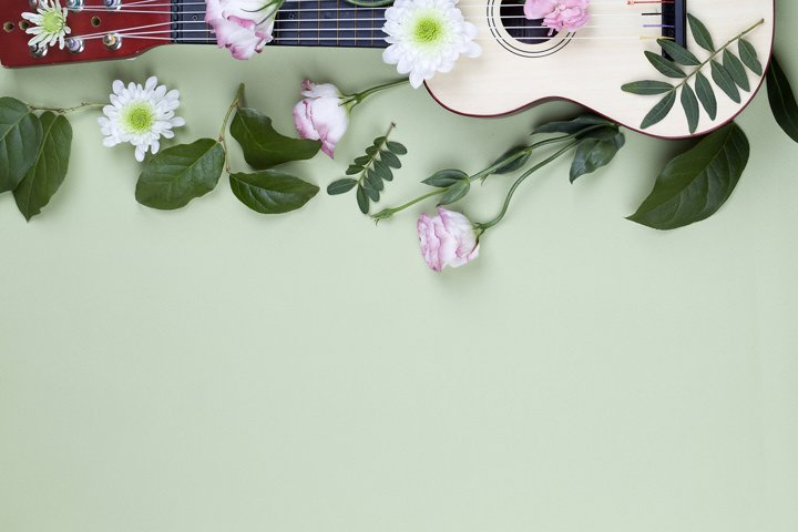 top view of a guitar and flowers on green background